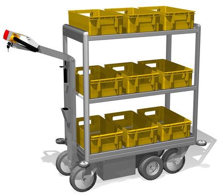 08-1 Elektromobil für Postkisten, 3 Ebenen, Maße BTH 960x437x1200 mm, andere Maße möglich, Abweisrollen an den Ecken vermeiden Wandbeschädigungen