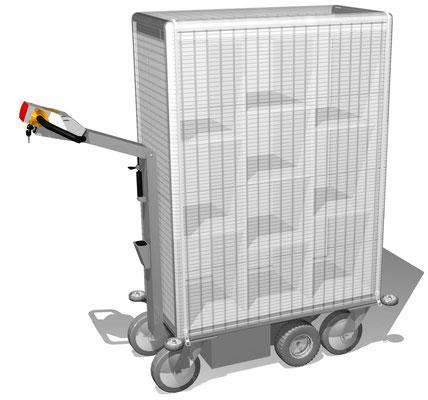 04 Elektromobil, 3-reihig mit höhenverstellbaren Fachböden und Wetterschutzplane mit Reißverschluss