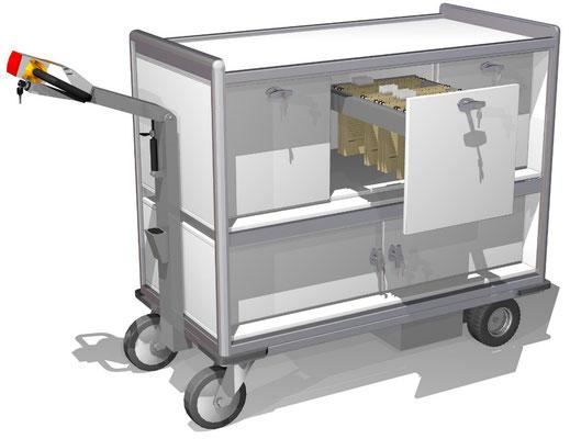 27 Elektro-Mobil mit Hängeregistratur-Auszügen, abschließbar, BTH 1300x664x1200 mm, unten verschließbares Fach, z.B. für Päckchen/Pakete