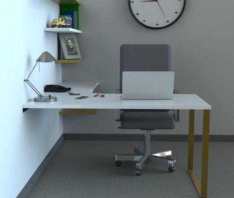 pied de table en métal coloris OR pour bureau