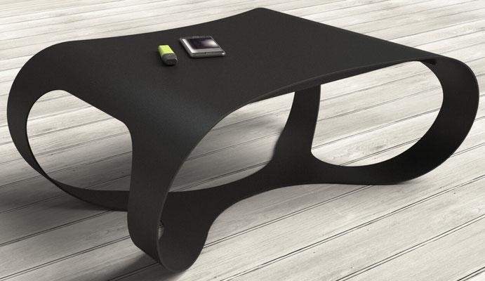 table basse design en métal coloris noir