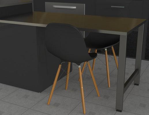 pied de table pour cuisine en métal
