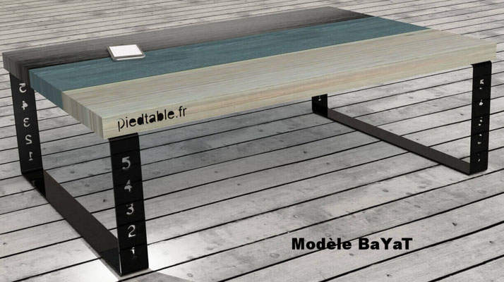 Pied de table design pour table basse de salon.