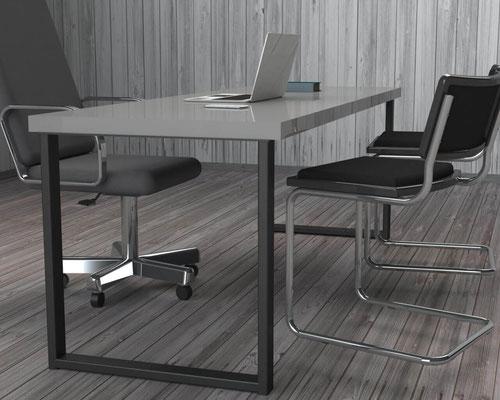 pied de bureau en métal coloris noir