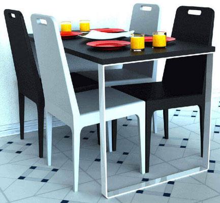 Pied de table pour table péninsule de cuisine.