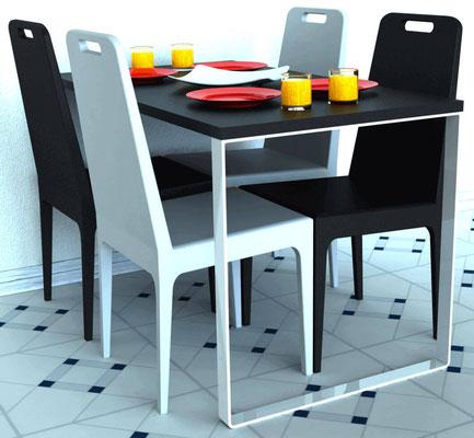 pied de table rectangulaire pour plan de travail coloris blanc