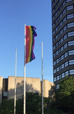 Regenbogenfahne am neuen Rathaus Göttingen (C) C. Hübner