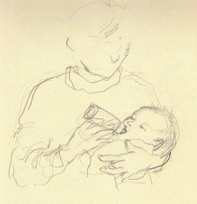 【ミルクを飲む上子】-eldest daughter (2000.1)