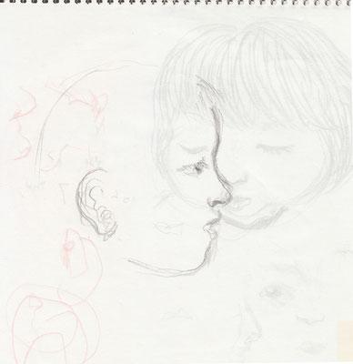 上子を描く。裏にうっすら下子。(2006)