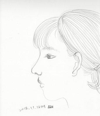 髪を切る前の下子 youngest daughter (2018.11.16FRI)