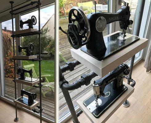 Ein Sammlerregal für alte Nähmaschinen. Der Stahl in Kombination mit den glänzenden starken Regalböden bringt die Objekte ideal zur Geltung.   (c) S. Weiher