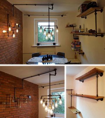 Definitiv ein Hingucker: Ess- und Spielezimmer mit Lampe, Regal und Vorhangstange aus blanken Wasserrohren und Fittings.   (c) G. Güven