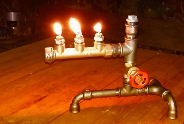 Steampunk-Lampe für die Terrasse   (c) A. Terbeck