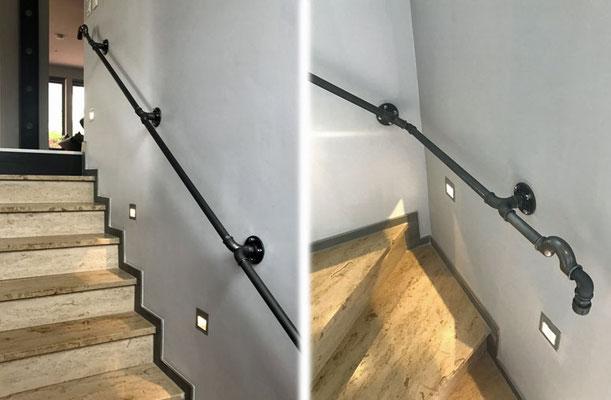 Ursprünglich wurden Temperguss-Fittings u. a. genau dafür gedacht: Treppengeländer. Abschluss oben und unten durch einen Überspringbogen Nr. 85. | (c) T. Vockroth