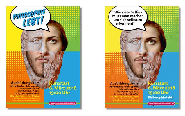 Plakate für U-Bahn zu Bewerbung des Ausbildungskurses von Treffpunkt Philosophie e.V.