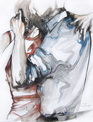 "Tangokunst ""Tangopaar N°15"", 65x50 cm, Mischtechnik auf Papier, 2019 (verkauft)"