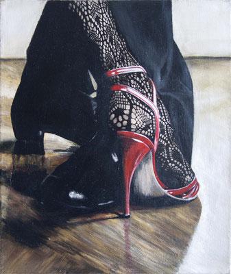 """Tangokunst """"Kontakt"""", 46 x 40 cm, Acryl und Tusche auf Leinwand, 2018 (verkauft)"""