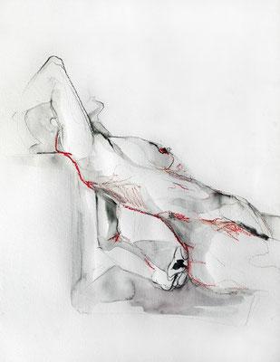 """Aktzeichnung """"Giulia"""", 65 x 50 cm, Mischtechnik auf Papier, 2017"""