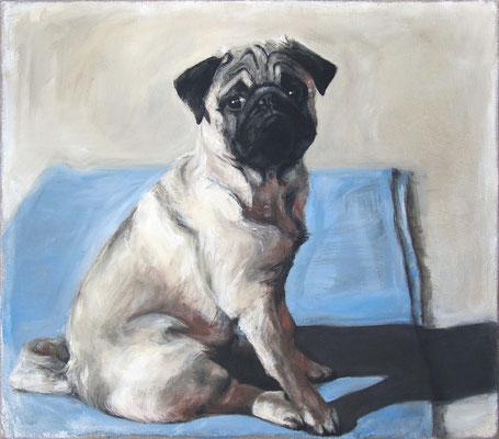 """""""Hubert auf blauer Decke"""", 70 x 80 cm, Acryl auf Leinwand, 2020"""