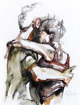"Tangokunst ""Tangopaar N°18"", 65x50 cm, Mischtechnik auf Papier, 2019 (verkauft)"