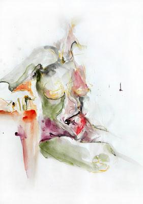 """Aktzeichnung """"Nina"""", 59 x 42 cm, Mischtechnik auf Papier, 2015"""