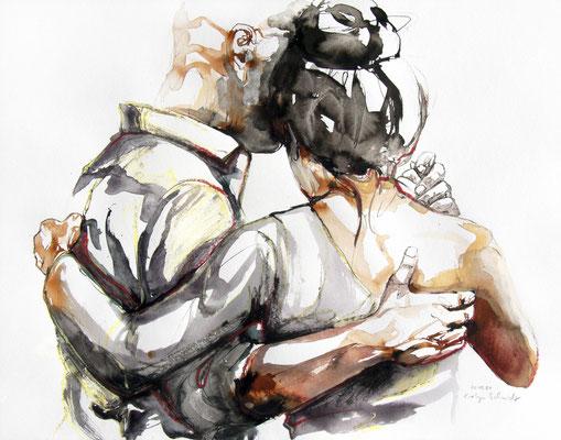 """Tangokunst """"Tangopaar N°69"""", 50x65 cm, Mischtechnik auf Papier, 2021"""