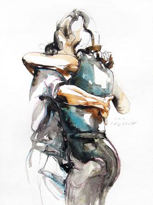 """Tangokunst """"Tangopaar N°68"""", 48x36 cm, Mischtechnik auf Papier, 2021"""