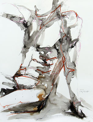 """Aktzeichnung """"Paul"""", 65 x 50 cm, Mischtechnik auf Papier, 2020"""