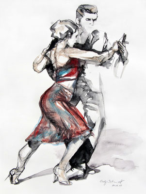 "Tangokunst ""Tangopaar N°5"", 47 x 35 cm, Mischtechnik auf Papier, 2018 (verkauft)"