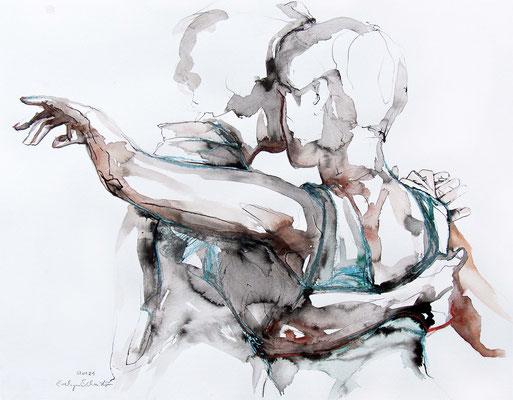 "Tangokunst ""Tangopaar N°57"", 65x50 cm, Mischtechnik auf Papier, 2021 (verkauft)"