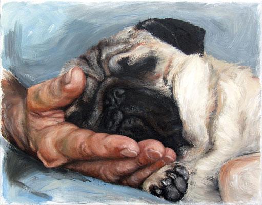 """""""Hubert auf Hand schlafend"""", 35 x 45 cm, Acryl auf Leinwand, 2020 (nicht verkäuflich)"""