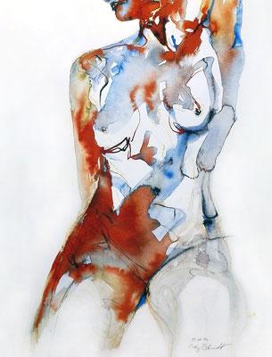 """Aktzeichnung """"Irene"""", 50 x40 cm, Mischtechnik auf Papier, 2017 (verkauft)"""