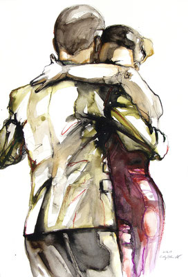 "Tangokunst ""Tangopaar N°22"", 65x44 cm, Mischtechnik auf Papier, 2019 (verkauft)"