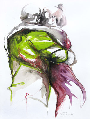 "Tangokunst ""Tangopaar N°44"", 65x50 cm, Mischtechnik auf Papier, 2020 (verkauft)"