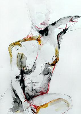 """Aktzeichnung """"Ophelia"""", 70 x 50 cm, Mischtechnik auf Papier, 2016"""