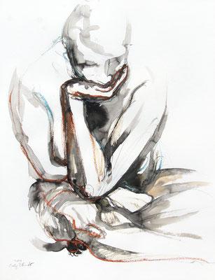 """Aktzeichnung """"Theresa"""", 65 x 50 cm, Mischtechnik auf Papier, 2020"""
