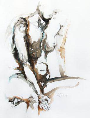"""Aktzeichnung """"Leticia"""", 65 x 50 cm, Mischtechnik auf Papier, 2020"""