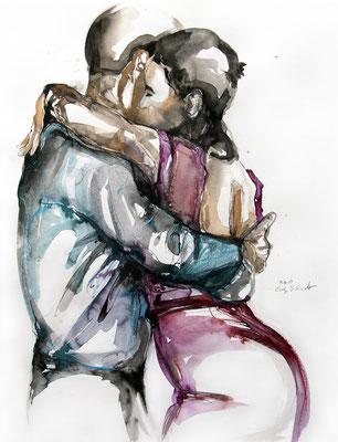 "Tangokunst ""Tangopaar N°21"", 65x50 cm, Mischtechnik auf Papier, 2019 (verkauft)"
