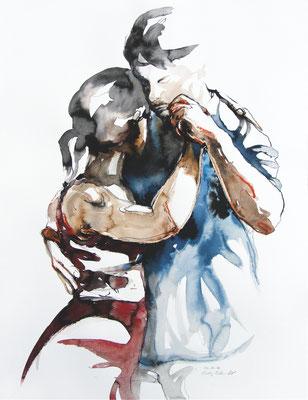 "Tangokunst ""Tangopaar N°32"", 65x50 cm, Mischtechnik auf Papier, 2019 (verkauft)"