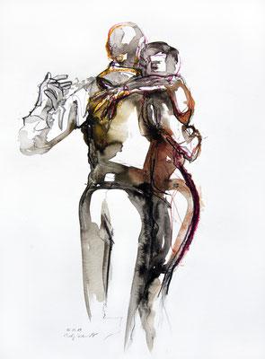 "Tangokunst ""Tangopaar N°16"", 55x42 cm, Mischtechnik auf Papier, 2019 (verkauft)"