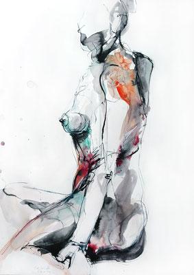 """""""Leila"""", 70 x 50 cm, Mischtechnik auf Papier, 2016"""