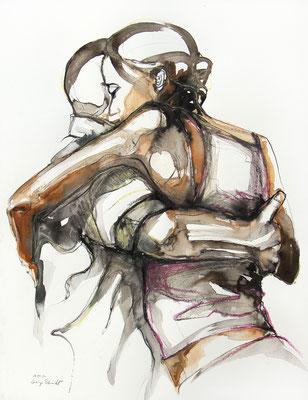 "Tangokunst ""Tangopaar N°51"", 65x50 cm, Mischtechnik auf Papier, 2021 (verkauft)"
