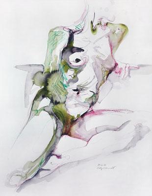 """Aktzeichnung """"Trudy"""", 65 x 50 cm, Mischtechnik auf Papier, 2017"""