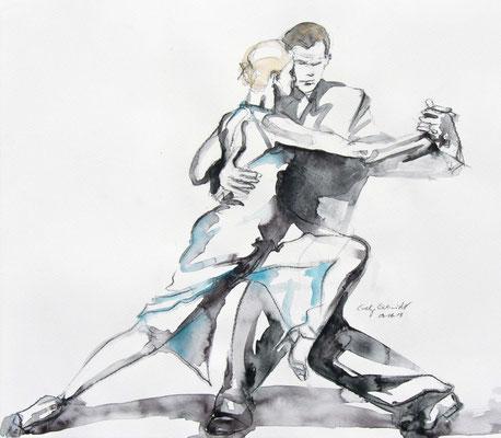 """Tangokunst """"Tangopaar N°1"""", 34 x 39 cm, Mischtechnik auf Papier, 2018"""
