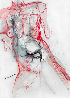 """Aktzeichnung """"Kasandra"""", 66 x 50 cm, Mischtechnik auf Papier, 2017"""