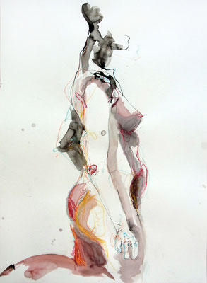 """Aktzeichnung """"Laura"""", 70 x 50 cm, Mischtechnik auf Papier, 2017"""