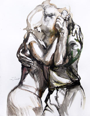 """Tangokunst """"Tangopaar N°53"""", 65x50 cm, Mischtechnik auf Papier, 2021"""
