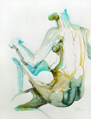 """Phoebe"", 65 x 50 cm, Mischtechnik auf Papier, 2017"