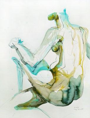 """Aktzeichnung """"Phoebe"""", 65 x 50 cm, Mischtechnik auf Papier, 2017 (verkauft)"""