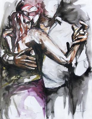 """Tangokunst """"Tangopaar N°19"""", 65x50 cm, Mischtechnik auf Papier, 2019"""